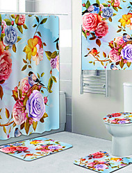 cheap -Beautiful flowers Printed Bathtub Curtain Liner Covered with Waterproof Fabric shower Curtain for Bathroom home Decoration with hook floor mat and four-piece Toilet mat
