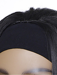 cheap -european and american foreign trade wig female black ice silk headscarf hair cover chemical fiber black long straight fake found goods wholesale