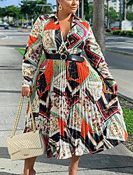cheap -Women's Plus Size Dress Swing Dress Midi Dress Long Sleeve Print Tassel Fringe Print Casual Spring & Summer