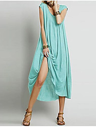 cheap -2019 european and american women's sleeveless solid color round neck and large slacks loose explosive dress
