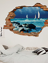 cheap -3D Broken Wall Wave Beach Sailing Home Corridor Background Decoration Can Be Removed Stickers