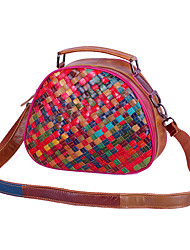 cheap -2020 new leather handbags, hand-woven cowhide bags, casual trendy bags, color striped single-shoulder small bags