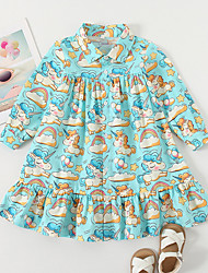 cheap -Kids Little Girls' Dress Unicorn Cartoon School Causal Ruffle As Picture Knee-length Long Sleeve Cute Dresses Children's Day Spring &  Fall Loose 3-6 Years