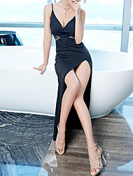 cheap -Sheath / Column Beautiful Back Sexy Prom Formal Evening Dress Spaghetti Strap Sleeveless Asymmetrical Spandex with Crystals 2021