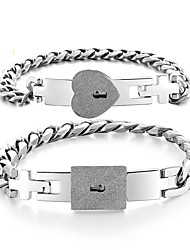 cheap -titanium steel couple bracelets, a pair of stainless steel rose gold male and female concentric lock interlocking key bracelets