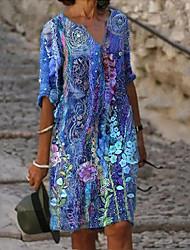 cheap -Women's Loose Knee Length Dress Long Sleeve Print Spring Summer V Neck Casual / Daily 2021 S M L XL XXL XXXL 4XL