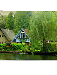 cheap -Wall Tapestry Art Decor Blanket Curtain Hanging Home Bedroom Living Room Decoration Polyester Villa Landscape River Water Willow Tree