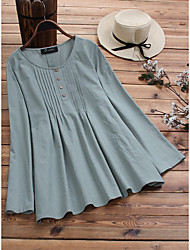cheap -2019 spring european and american new amazon aliexpress wish cotton and linen large size pull strip shirt