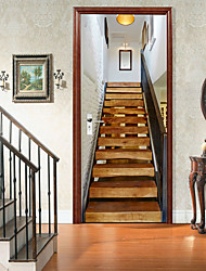 cheap -2pcs Self-adhesive Creative Door Stickers Solid Wood Stairwell Living Room Diy Decorative Home Waterproof Wall Stickers