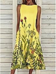 cheap -2021 cross-border women's new style amazon hot sale floral print casual dress sleeveless loose plus size skirt