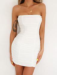 cheap -Women's Sheath Dress Short Mini Dress White Black Wine Orange Khaki Sleeveless Solid Color Ruched Summer Strapless Sexy 2021 XS S M L XL