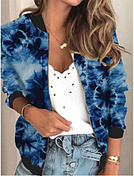 cheap -Women's Jackets Color Block Print Sporty Spring &  Fall Jacket Regular Daily Long Sleeve Air Layer Fabric Coat Tops Blue