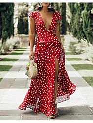 cheap -Women's Swing Dress Maxi long Dress Blue Black Red Short Sleeve Polka Dot Deep V M L XL XXL