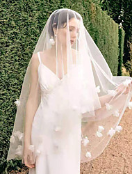 cheap -Two-tier Stylish / Sweet Wedding Veil Blusher Veils / Elbow Veils with Scattered Bead Floral Motif Style 43.31 in (110cm) Tulle