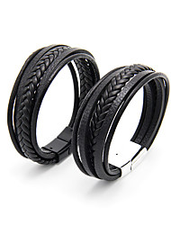 cheap -multi-layer men's jewelry ethnic style retro alloy magnetic buckle leather bracelet