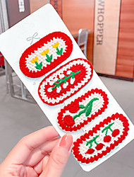 cheap -red hand-woven hairpin, woolen embroidery hairpin, side clip, small red flower bb clip, girl ins hair accessories