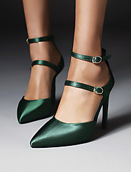 cheap -Women's Heels Stiletto Heel Pointed Toe Silk Buckle Solid Colored Red Green Black / 3-4