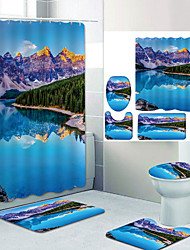 cheap -Beautiful Scenery Digital Printing Four-piece Set Shower Curtains and Hooks Modern Polyester Machine Made Waterproof Bathroom
