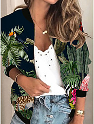 cheap -Women's Jackets Plants Print Sporty Spring Jacket Regular Daily Long Sleeve Air Layer Fabric Coat Tops Green