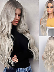 cheap -Synthetic Wigs Long Wavy Wigs for Women Natural Part Side Wig Heat Resistant Party Hair Ombre Blonde Wigs Brizilan