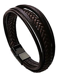 cheap -murtoo bracelet for man cowhide genuine leather women unisex cuff wrap bracelet brown black multi-layer magnetic clasp rope wristband (brown, 7.5'')