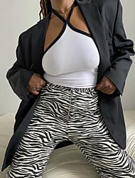 cheap -Women's Basic Soft Comfort Casual Daily Pants Pants Leopard Zebra Animal Ankle-Length Pocket Jacquard Print Black / White Brown