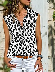 cheap -Women's Blouse Shirt Leopard Animal Button Print Shirt Collar Streetwear Tops White Black