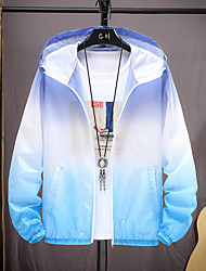 cheap -Men's Hoodie Jacket Hiking Skin Jacket Hiking Windbreaker Summer Outdoor UV Sun Protection Quick Dry Lightweight Breathable Outerwear Coat Top Hunting Fishing Climbing Top powder and bottom ash Upper