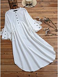 cheap -Women's Plus Size Dresses Shirt Dress Knee Length Dress Half Sleeve Plain Spring Light Blue White Army Green M L XL 2XL 3XL