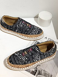 cheap -Women's Flats Flat Heel Round Toe Canvas Color Block Black Red Blue