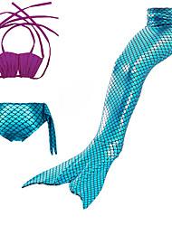 cheap -Kids Girls' Swimwear Bikini 3pcs Swimsuit Mermaid Tail Lace up Swimwear Color Block Sleeveless Blue Purple Blushing Pink Active Cute Bathing Suits 3-10 Years