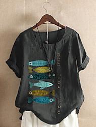 cheap -Women's Plus Size Tops Blouse Shirt Fish Animal Short Sleeve Round Neck Spring Summer Big Size XL XXL 3XL 4XL 5XL