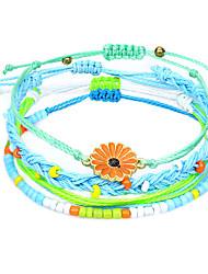 cheap -bohemian waterproof wax thread hand-woven bracelet alloy chrysanthemum beaded bracelet set