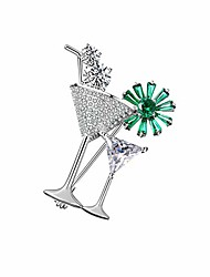 cheap -zhepin gold silver alloy plus rhinestone cocktail brooch luxurious exquisite wedding social contact pin for women men
