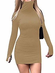 cheap -womens mask attached long sleeve bodycon dress solid color pencil mini party dresses (khaki, x-large)
