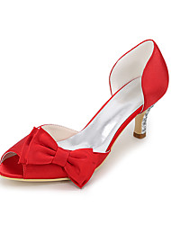cheap -Women's Wedding Shoes Kitten Heel Peep Toe Satin Bowknot Solid Colored White Purple Red