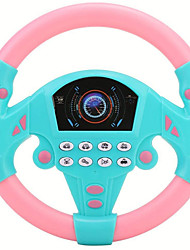 cheap -Simulated Driving Controller 21*3.5*21cm Co-Driver Simulated Steering Wheel Educational Music Toy for Children Kids 4 5 6 Years Old (Pink Blue)