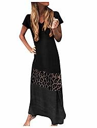 cheap -Women's Shift Dress Maxi long Dress Short-sleeved leopard gray Short sleeve leopard green Short sleeve leopard print yellow Short sleeve leopard print black Long sleeve leopard gray Long sleeve