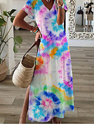 cheap -Women's Loose Maxi long Dress Short Sleeve Color Gradient Summer Casual Loose 2021 S M L XL