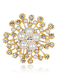 cheap -Women's Brooches 3D Flower Fashion Imitation Pearl Gold Plated Brooch Jewelry Gold For Christmas Gifts Wedding Party Dress Party & Evening New Year