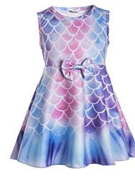 cheap -Kids Little Girls' Dress Graphic Bow Print Black Blue Purple Knee-length Sleeveless Active Dresses Summer Regular Fit 5-12 Years