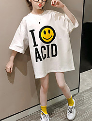 cheap -Kids Little Girls' Dress Letter Causal Print White Above Knee Short Sleeve Casual Dresses Summer Loose