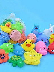cheap -13 Pcs Mixed Animals Swimming Water Toys Colorful Soft Floating Rubber Duck Squeeze Sound Squeaky Bathing Toy For Baby Bath Toys
