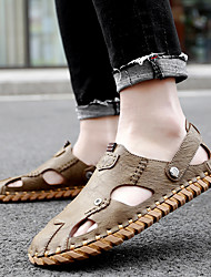 cheap -Men's Sandals Crochet Leather Shoes Flat Sandals Sporty Casual Beach Daily Outdoor Water Shoes Walking Shoes Nappa Leather Cowhide Breathable Handmade Non-slipping Booties / Ankle Boots Black Khaki