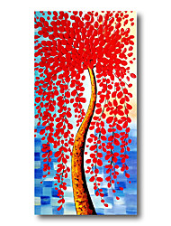 cheap -Stretched Oil Painting Hand Painted Canvas Abstract Comtemporary Modern High Quality Red Flowers Heavy Oil Ready to Hang