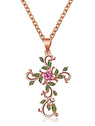 cheap -flower cross necklace diamond leaf clavicle chain christian religious accessories