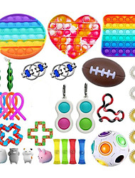cheap -31pcs Fidget Sensory Toy Set Stress Relief Toys Autism Anxiety Relief Stress Pop Bubble Fidget Sensory Toy For Kids Adults