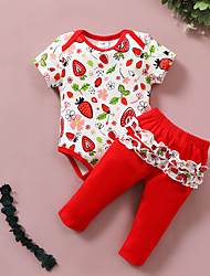 cheap -Baby Girls' Basic Print Bow Print Short Sleeve Regular Clothing Set Red