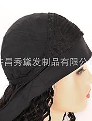 cheap -european and american wig female hair ice silk hair with turban hair corn perm long curly hair african small volume stretch mesh headgear