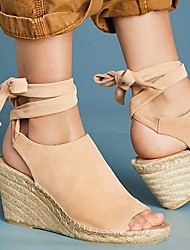 cheap -Women's Heels Wedge Heel Open Toe Suede Solid Colored Black Pink Khaki